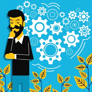 brainstorming conceptual drawing thinking man gears trees icons