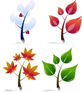 leaf tree icons shiny colored modern sketch