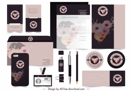 brand identity decor template woman face flora sketch