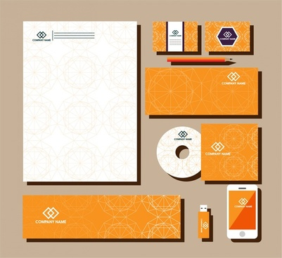 brand identity design sets abstract vignette pattern style