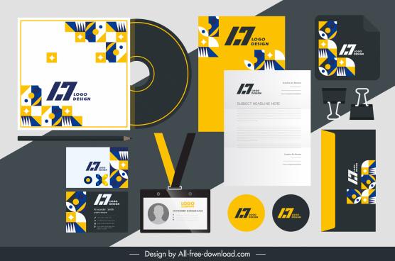 brand identity sets abstract geometric shapes decor