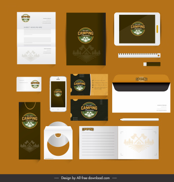 brand identity sets adventure camping logo decor