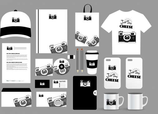 brand identity sets camera decor mockup design