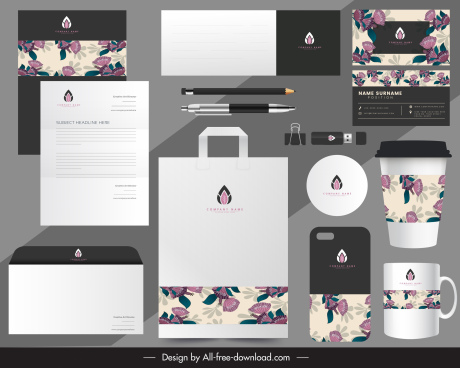 brand identity sets classic floral decor