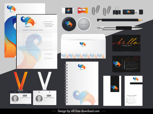 brand identity sets colorful flat elephant shape logotype
