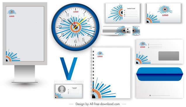 brand identity sets colorful flat rays decor