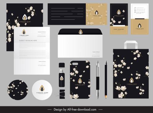 brand identity sets elegant dark botanical decor