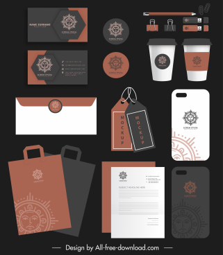 brand identity sets elegant sun logotype decor