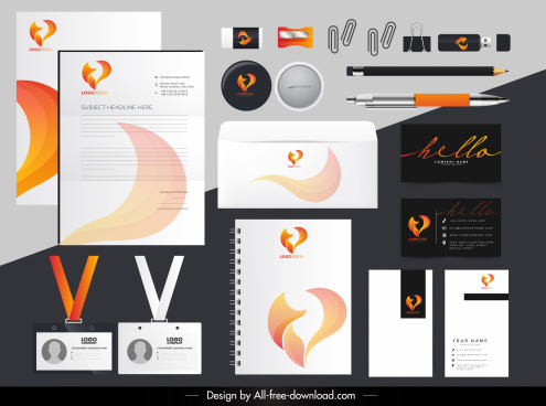 brand identity sets fire logotype sketch dynamic design