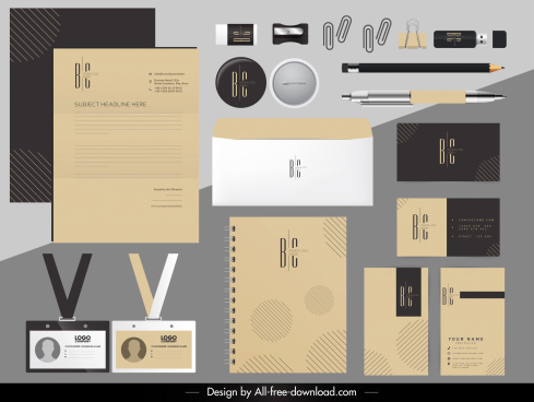 brand identity sets flat texts decor