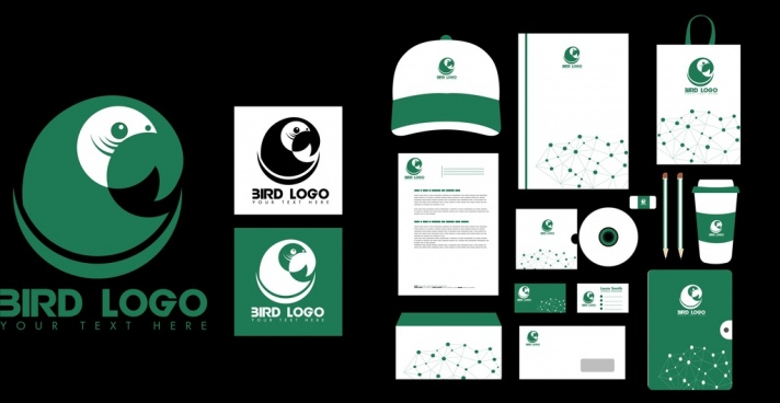 brand identity sets green bird logo design