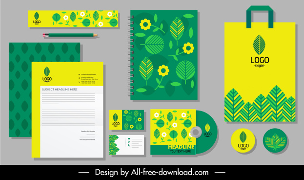brand identity sets green yellow flat leaf flora decor