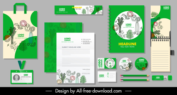 brand identity sets handdrawn flat plants sketch