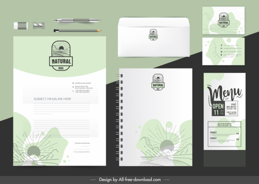 brand identity sets handdrawn scenic sketch