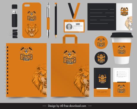 brand identity sets lion boxer logotype decor