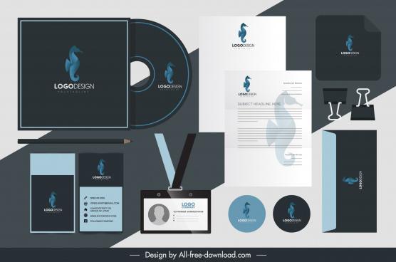 brand identity sets seahorse logo decor
