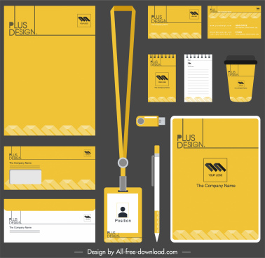 brand identity sets yellow white plain decor