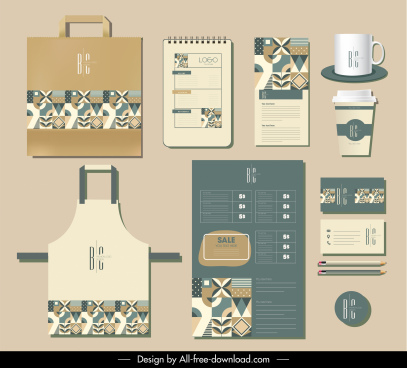 brand identity templates abstract flat traditional pattern elements