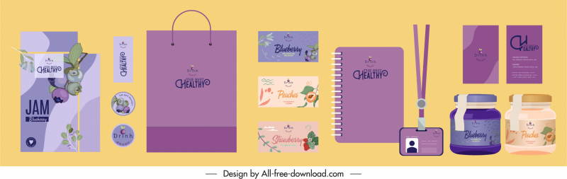 brand identity templates fruits decor classic design