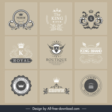 brand logotypes retro royal theme calligraphic decor