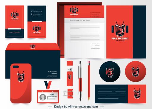 branding corporate identity sets western dragon logotype decor
