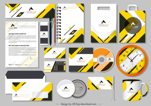 branding idendity sets modern bright yellow white decor