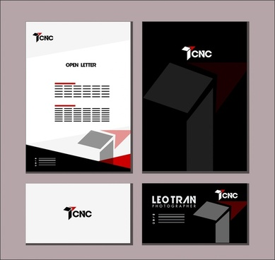 branding identity sets 3d dark bright design style