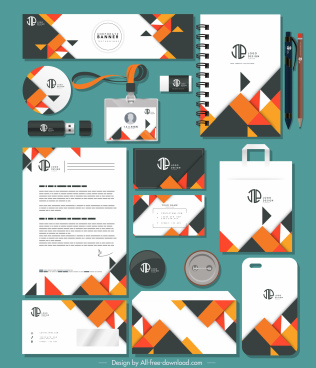 branding identity sets abstract modern colorful geometric decor