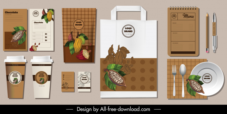 branding identity sets cacao icon colored handdrawn decor