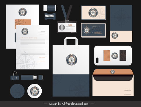 branding identity sets compass logo decor