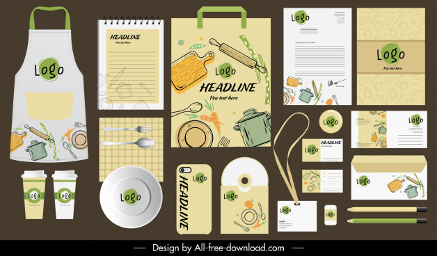 branding identity sets cooking elements decor flat handdrawn