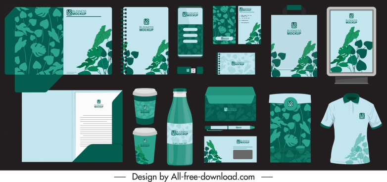 branding identity sets dark green leaves decor