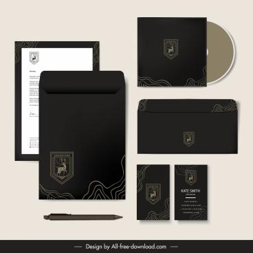 branding identity sets elegant dark black reindeer logotype