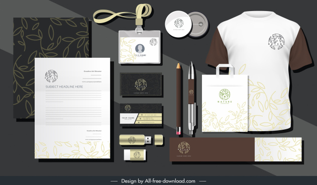 branding identity sets elegant leaves decor