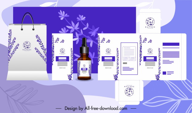 branding identity sets elegant violet plants decor