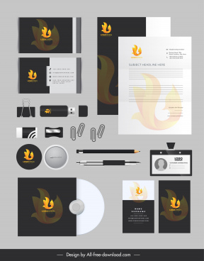 branding identity sets fire logo decor dark design