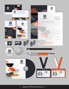 branding identity sets flat half circles decor