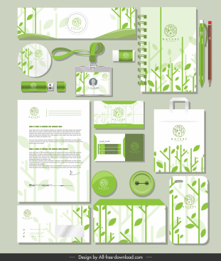 branding identity sets green leaves decor flat blurred