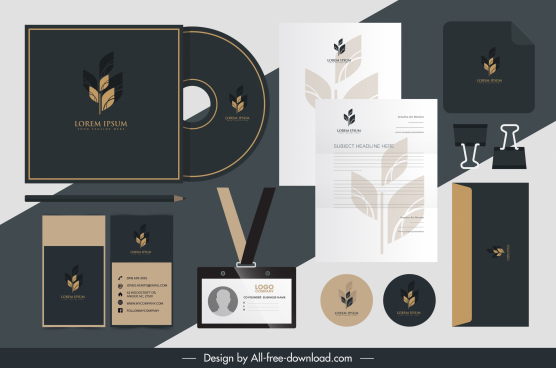 branding identity sets leaf logotype decor