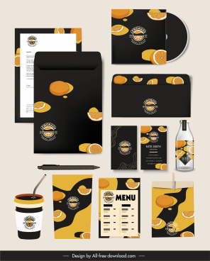 branding identity sets lemon fruits decor dark classic