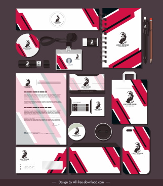 branding identity sets modern white red portrait decor