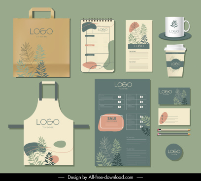 branding identity sets nature theme classic handdrawn leaves