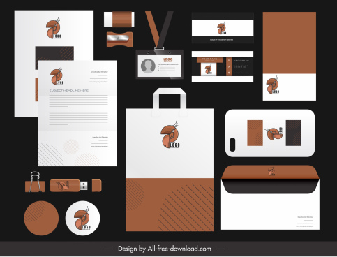 branding identity sets parrot logo brown decor