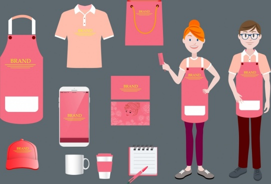 branding identity sets pink design various icons