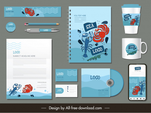 branding identity sets sea creatures decor