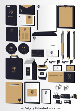branding identity sets wolf logo decor dark design