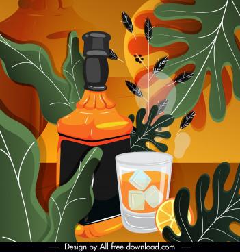 brandy advertising background colorful retro decor