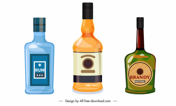 brandy bottle icons colored flat classic sketch