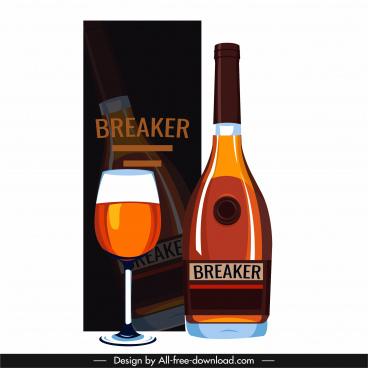 brandy wine design element box glass bottle sketch