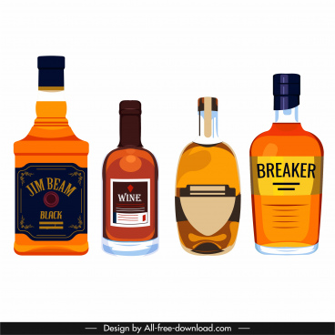brandy wine design elements colored classic flat sketch
